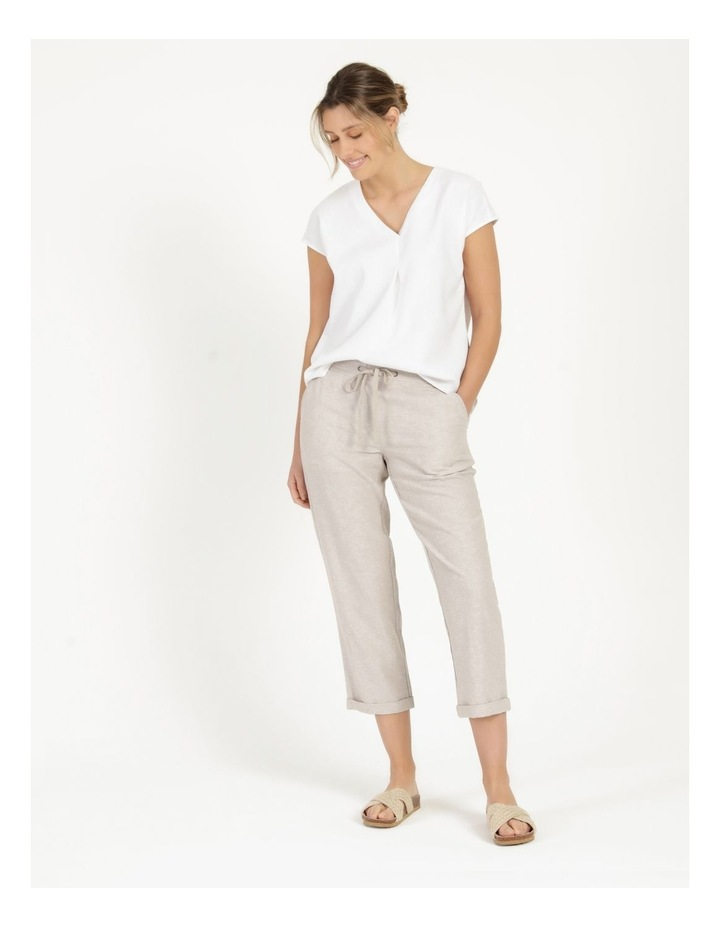 Linen Blend Straight Leg Pant Oatmeal Cross Dye image 1