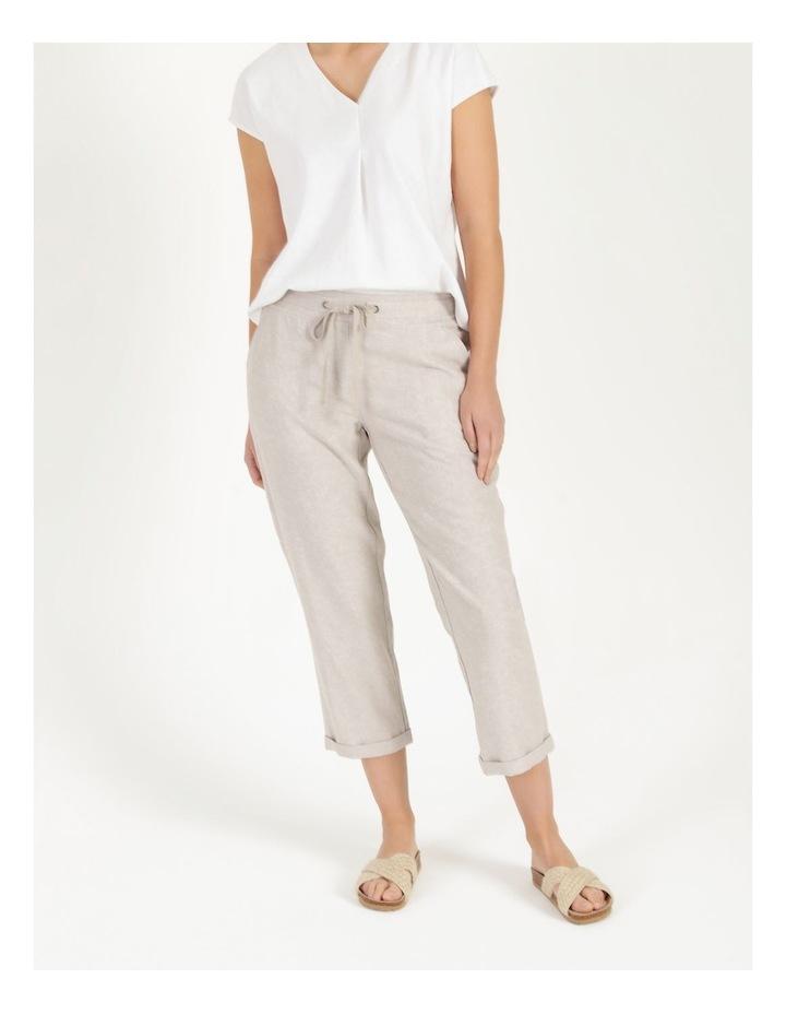 Linen Blend Straight Leg Pant Oatmeal Cross Dye image 2