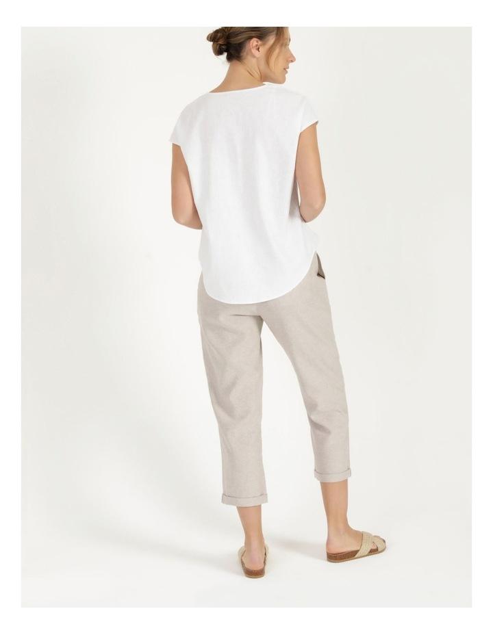 Linen Blend Straight Leg Pant Oatmeal Cross Dye image 5