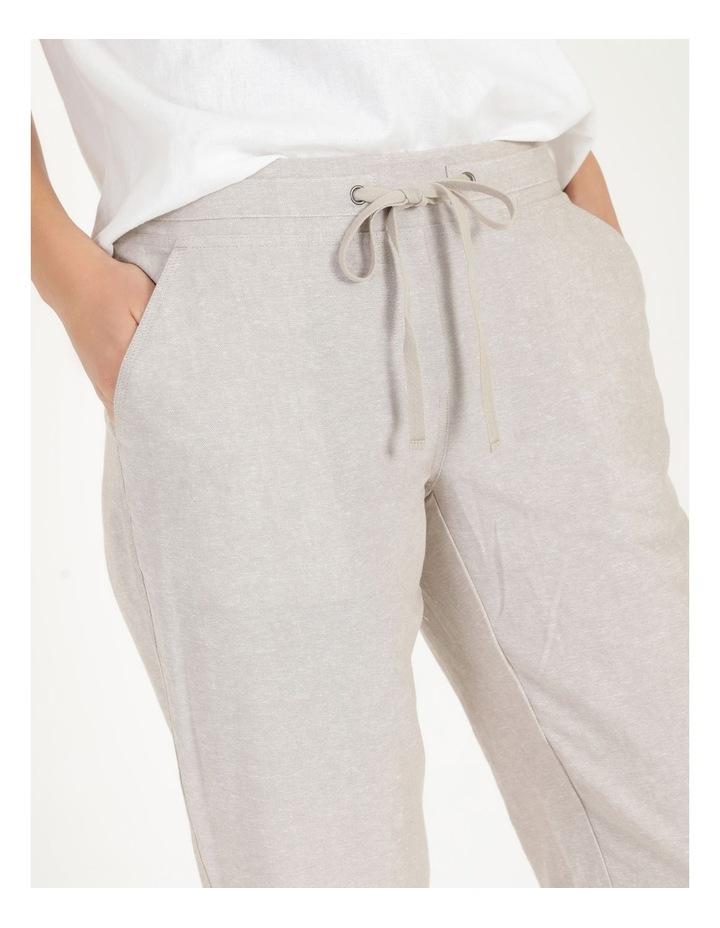 Linen Blend Straight Leg Pant Oatmeal Cross Dye image 6