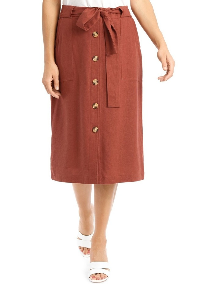 Tie Waist Skirt With Patch Pockets And Button Front image 1