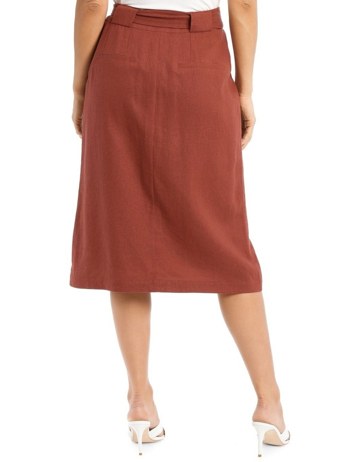 Tie Waist Skirt With Patch Pockets And Button Front image 3