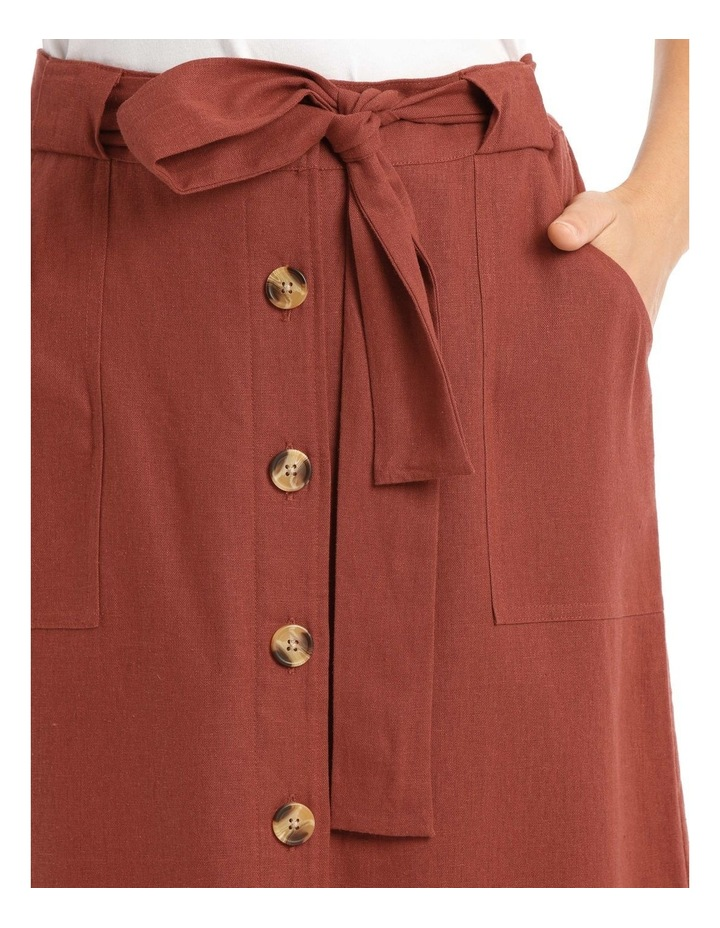 Tie Waist Skirt With Patch Pockets And Button Front image 4