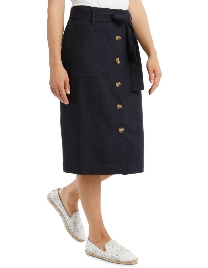 Tie Waist Skirt With Patch Pockets And Button Front image 2