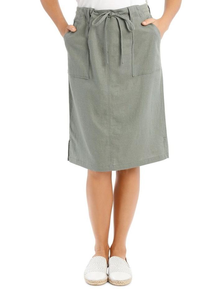 Patch Pocket Skirt With Side Splits & Rib Waist-Khaki image 1