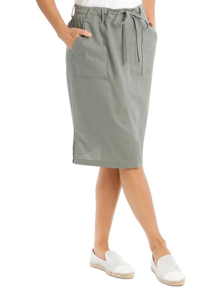 Patch Pocket Skirt With Side Splits & Rib Waist-Khaki image 2