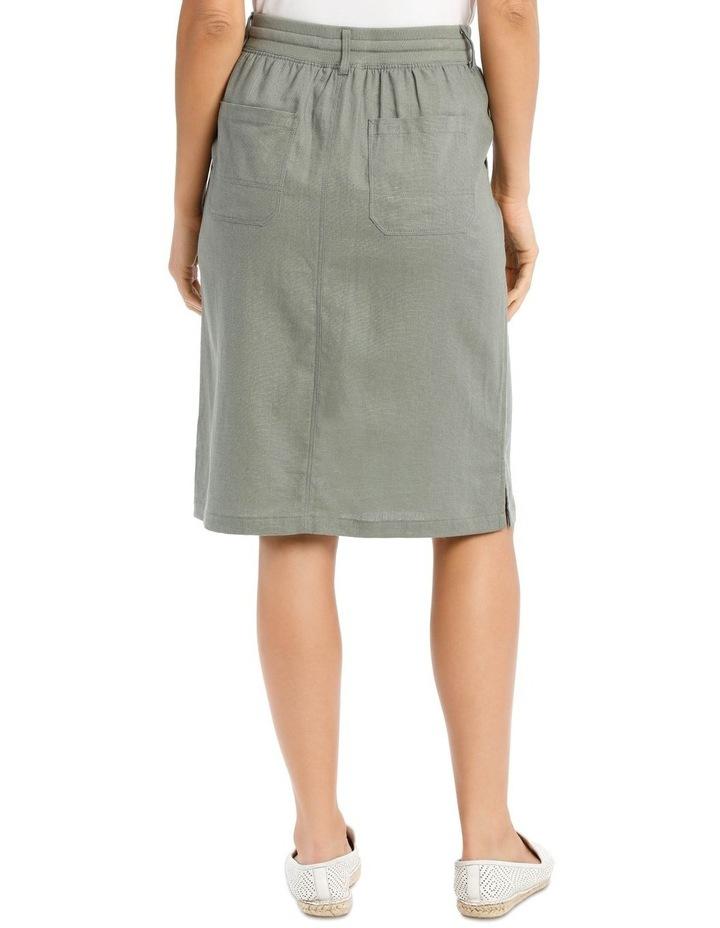 Patch Pocket Skirt With Side Splits & Rib Waist-Khaki image 3