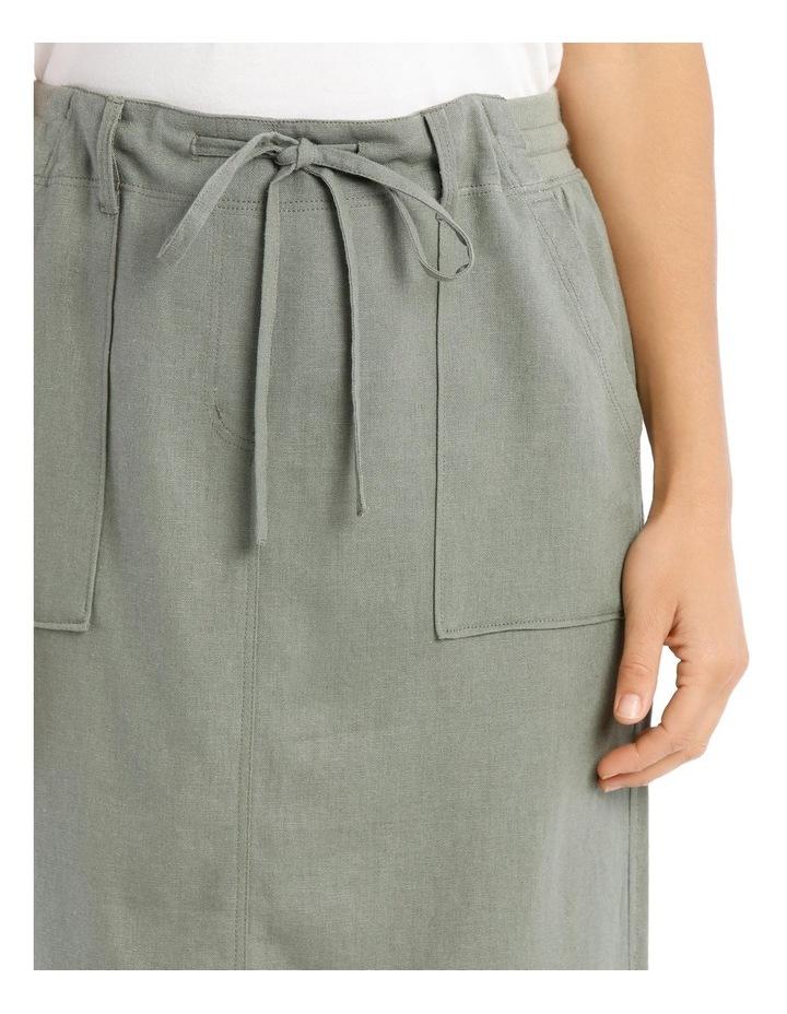 Patch Pocket Skirt With Side Splits & Rib Waist-Khaki image 4