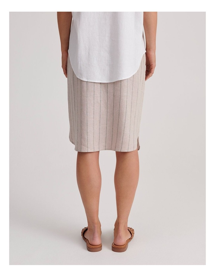 Etched Elastic Waist Skirt With Curved Hem & Button Front image 5