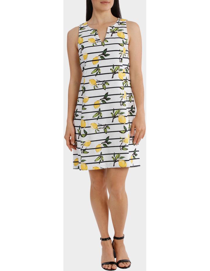 Stripe Lemon Linen Sleeveless Dress image 1