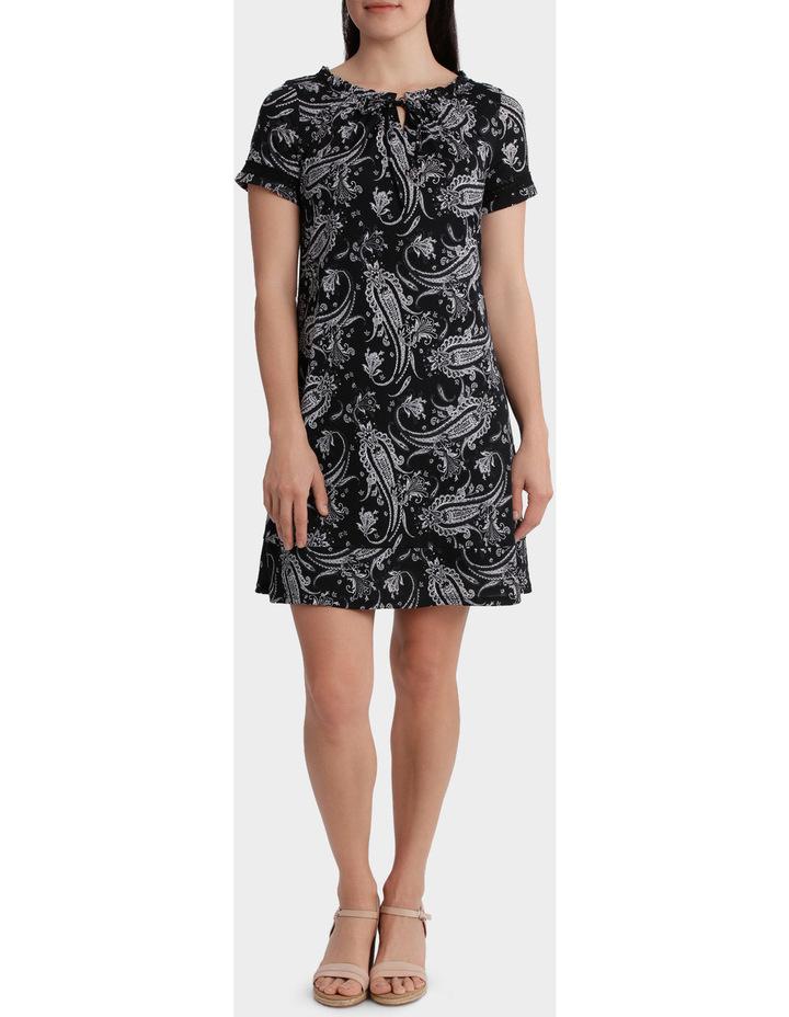 Monotone Paisley Mesh Short Sleeve Dress image 1