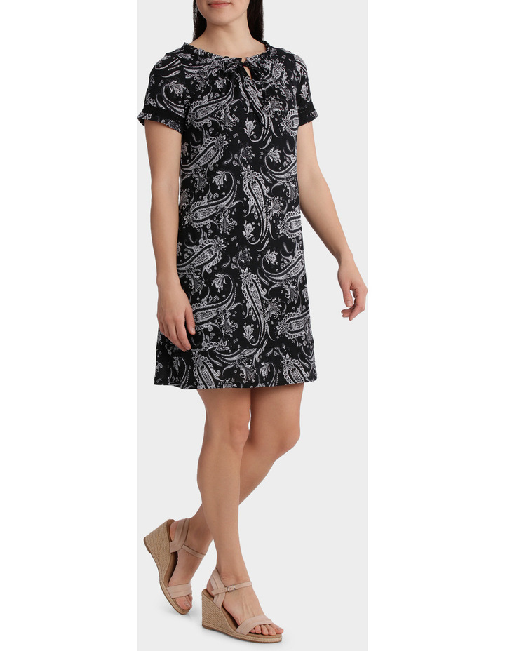Monotone Paisley Mesh Short Sleeve Dress image 2