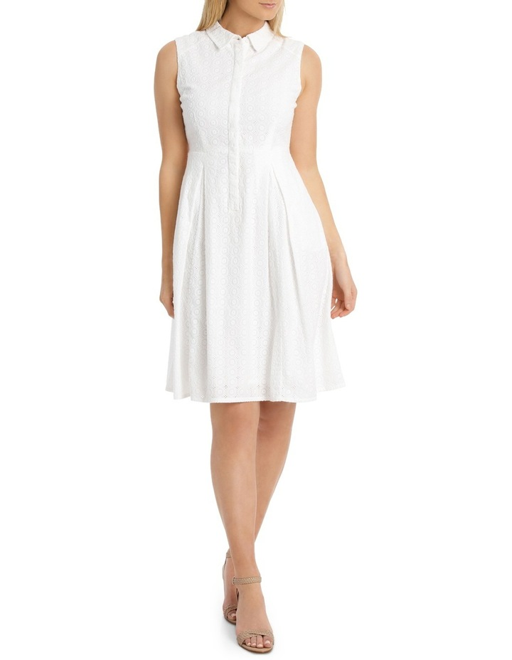 Solid Broderie Sleeveless Dress image 1
