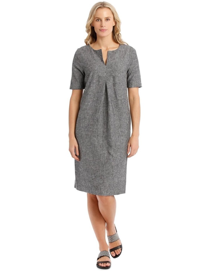 Short-Sleeve Cross-Dye Dress with Front Tuck & Dart image 1