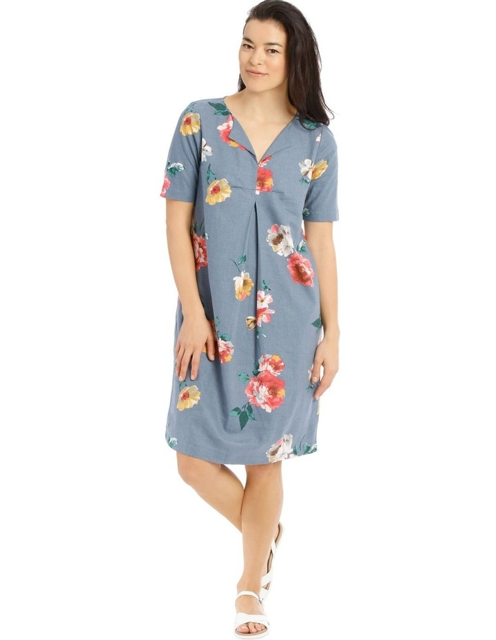 Linen Blend Short Sleeve Dress With C-Front Tuck & Dart image 1