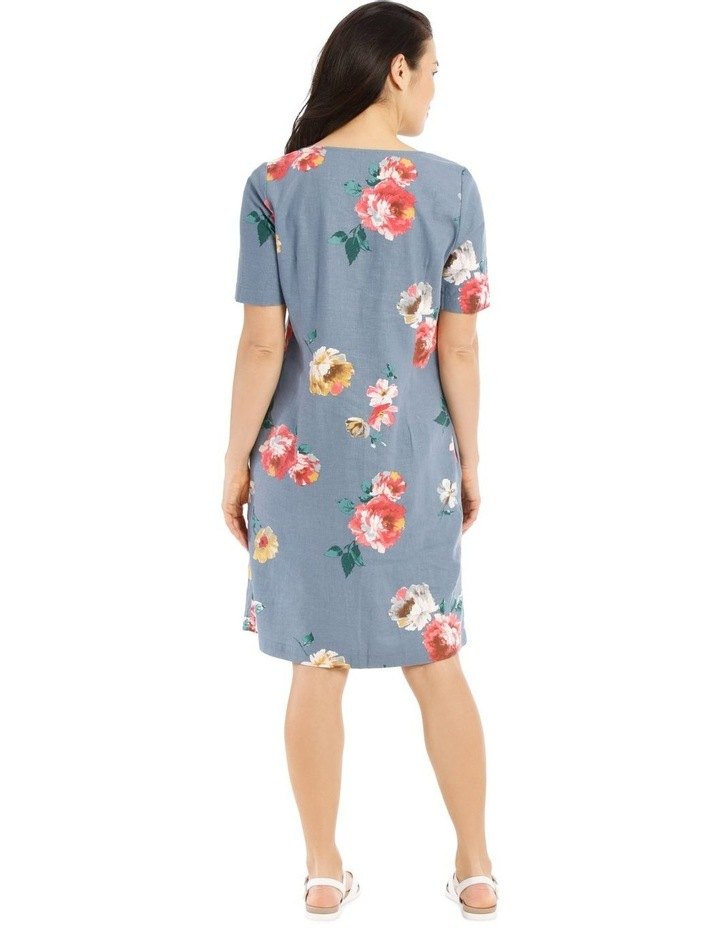 Linen Blend Short Sleeve Dress With C-Front Tuck & Dart image 3