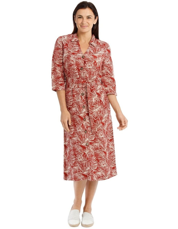 Shirt Dress With Tie Waist And Elbow Length Sleeves image 1