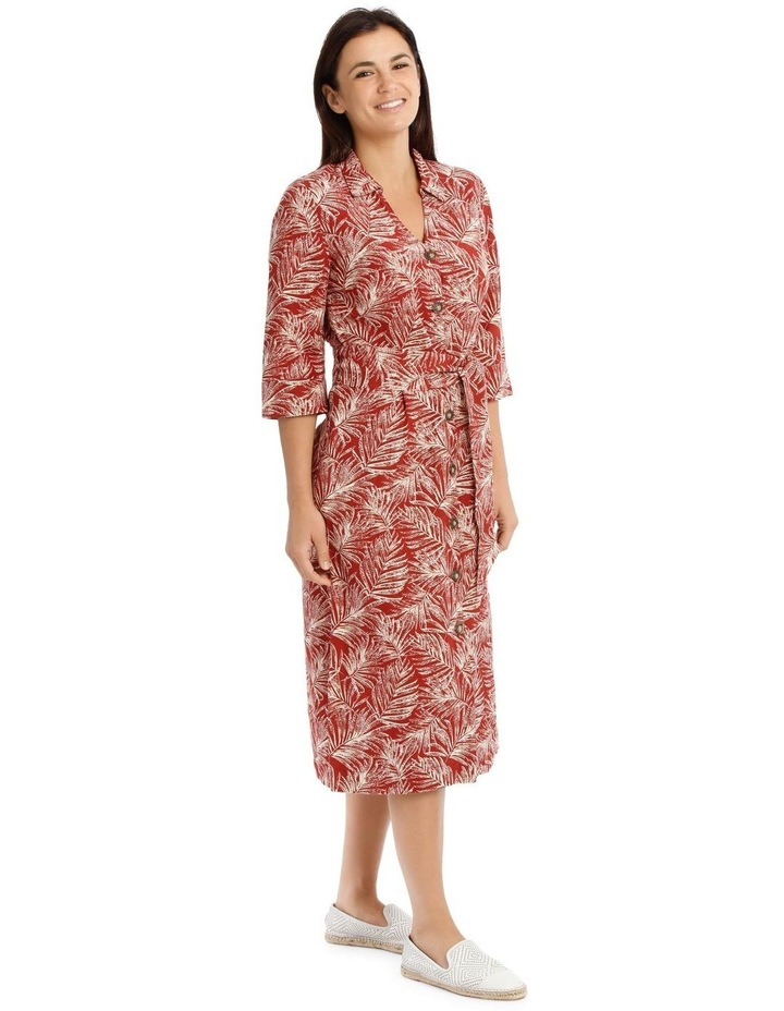 Shirt Dress With Tie Waist And Elbow Length Sleeves image 2