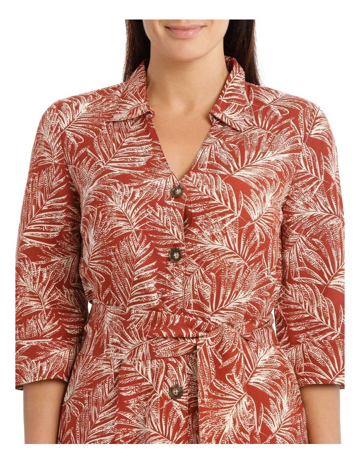 Shirt Dress With Tie Waist And Elbow Length Sleeves image 4