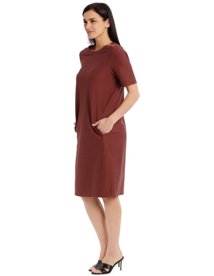 Short Sleeve Knit Dress With Angled Front Seams And Pockets image 2