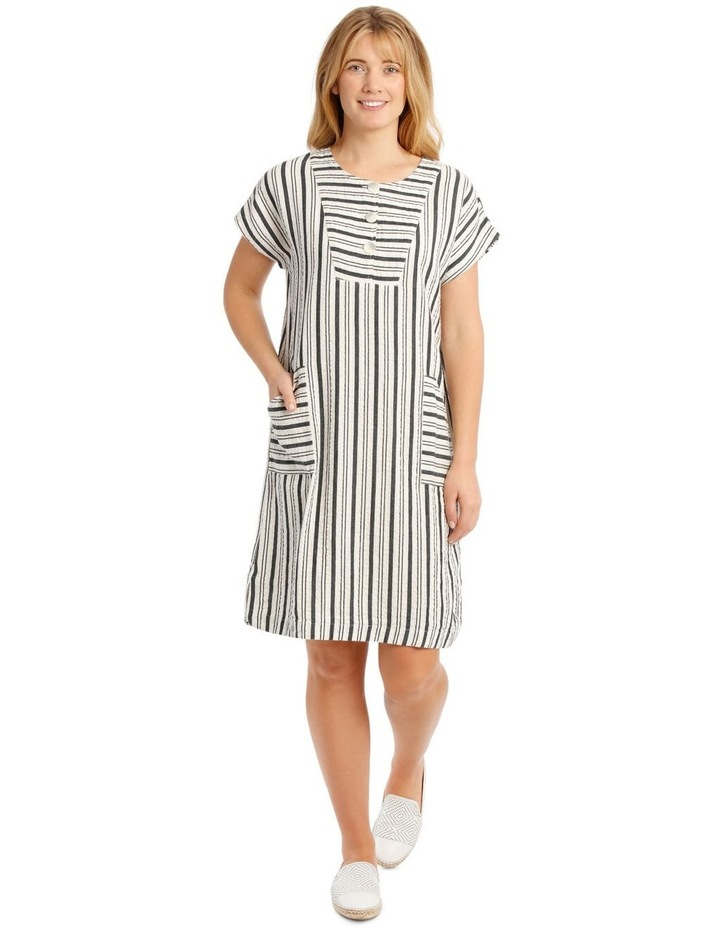 Dropped Shoulder Short Sleeve Stripe Dress With Yoke image 1