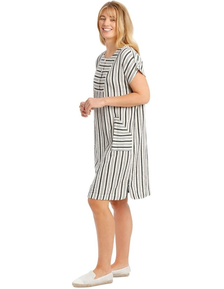 Dropped Shoulder Short Sleeve Stripe Dress With Yoke image 2