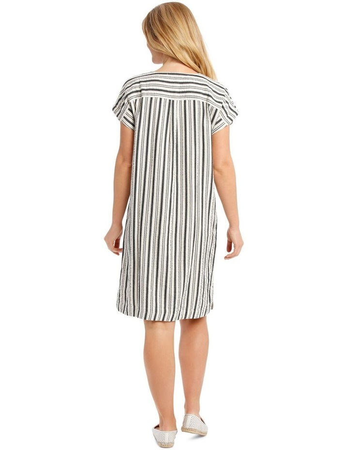 Dropped Shoulder Short Sleeve Stripe Dress With Yoke image 3