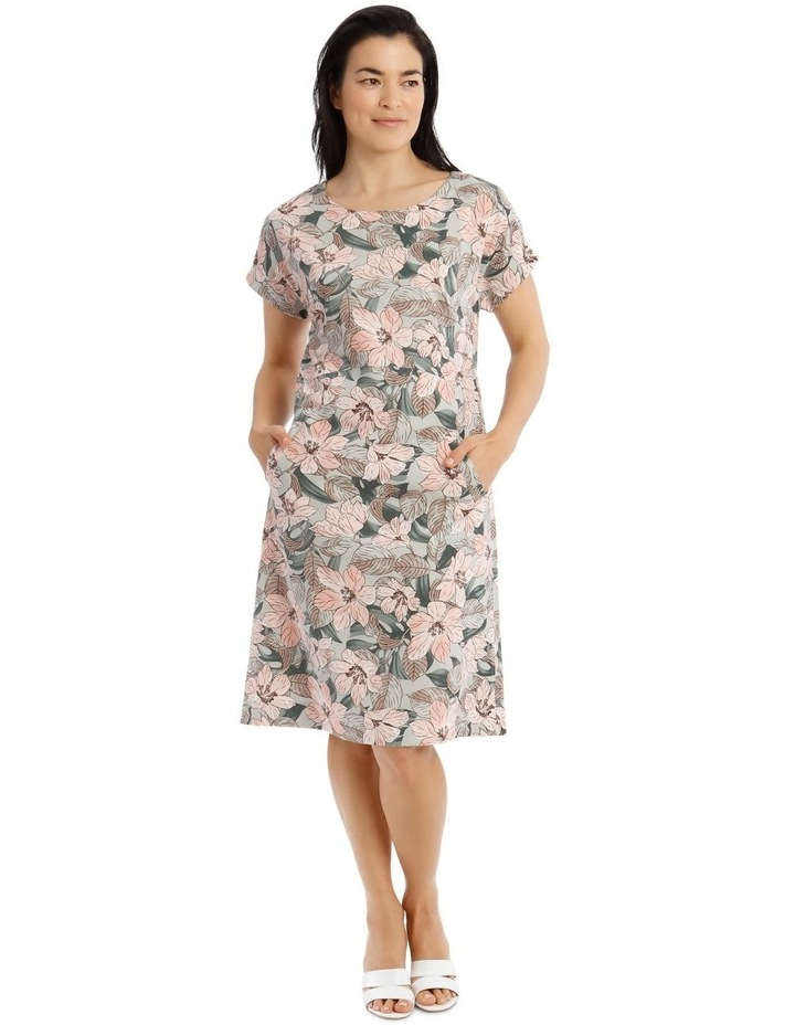 Extended Short Sleeve Dress With Waist Seam image 1