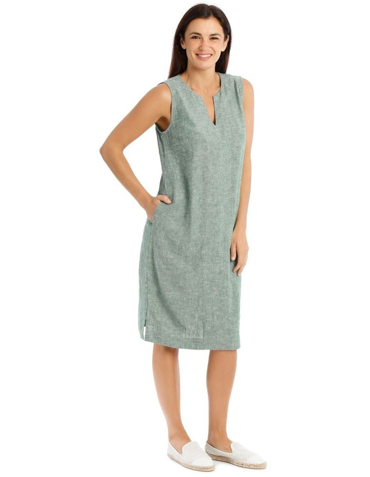 Sleeveless Seam Front Dress With Side Splits-Green Cross Dye image 2