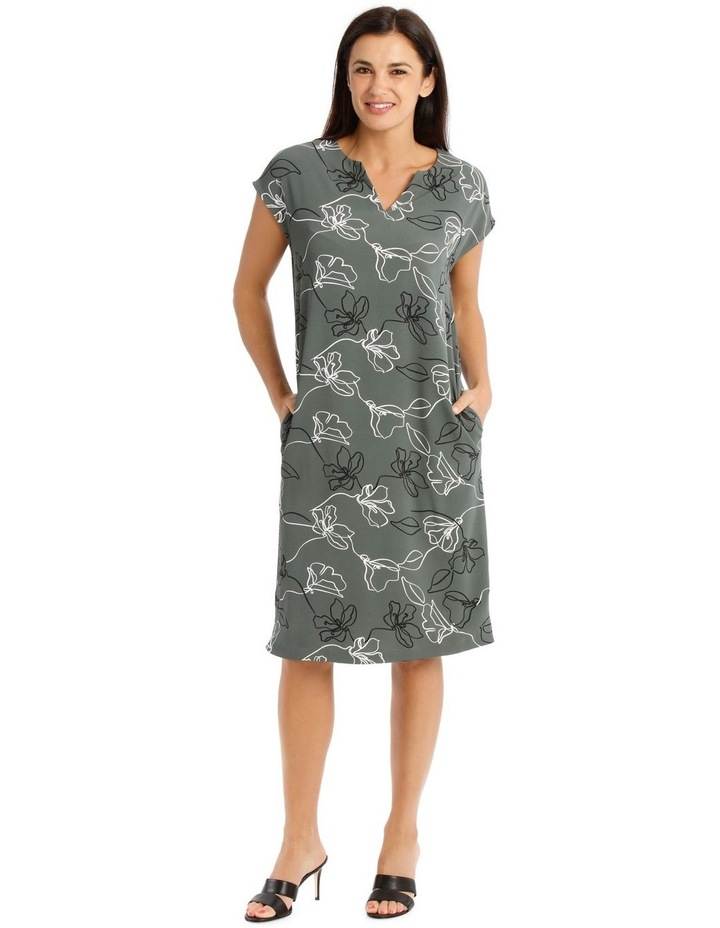 Extended Sleeve Dress With Split Neck image 1