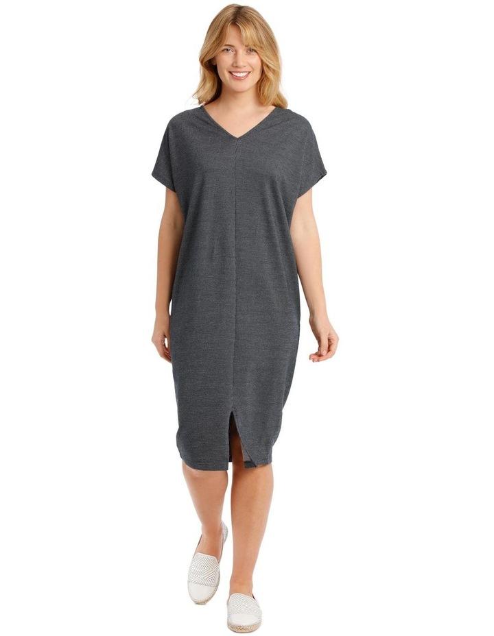 Extended Short Sleeve V-Neck Knit Dress image 1