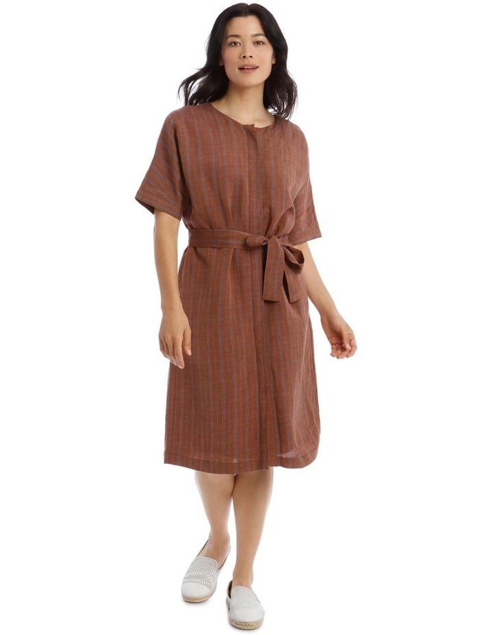 Magyar Short Sleeve Button Front Tie Waist Dress image 1