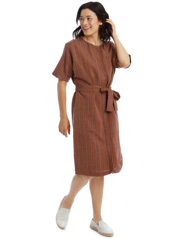 Magyar Short Sleeve Button Front Tie Waist Dress image 2