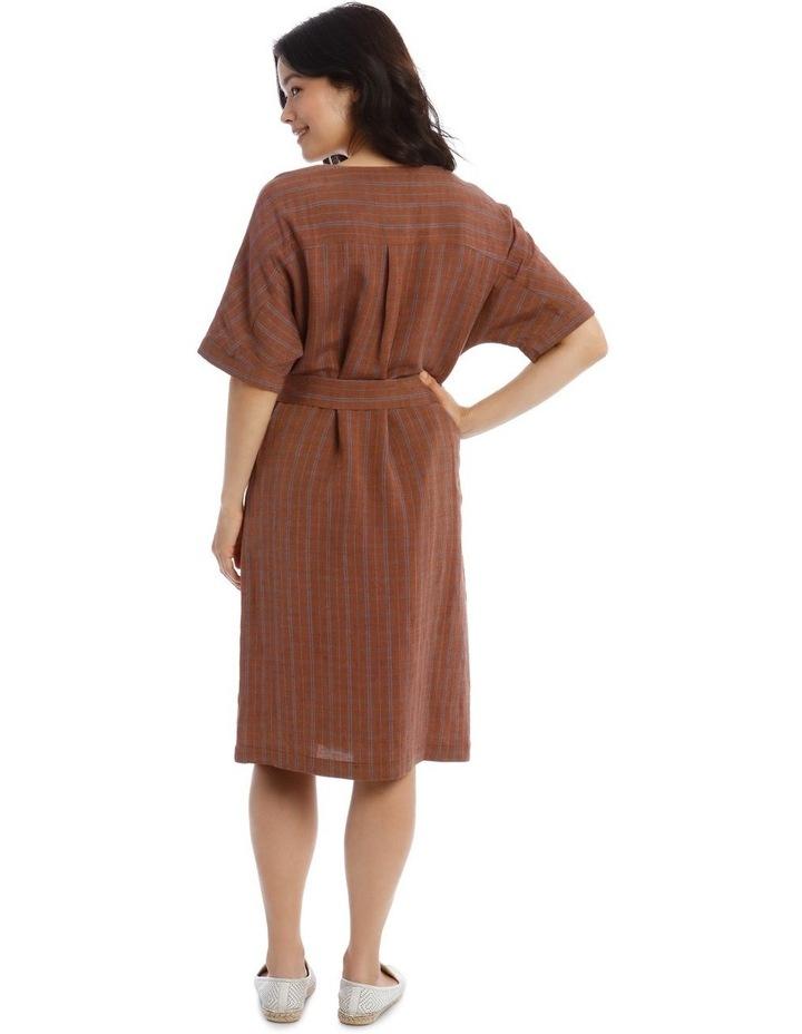 Magyar Short Sleeve Button Front Tie Waist Dress image 3