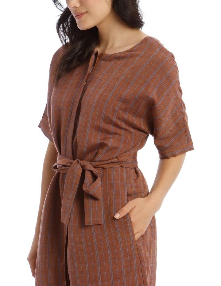 Magyar Short Sleeve Button Front Tie Waist Dress image 4