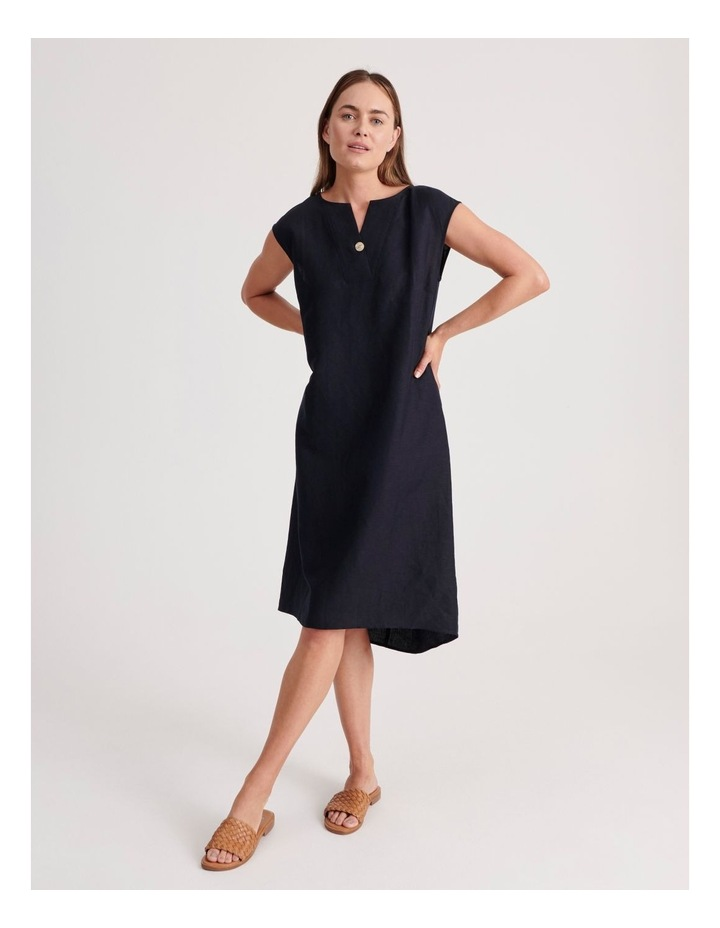 Sleeveless V-Neck Dress With Button image 1