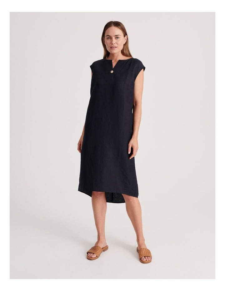 Sleeveless V-Neck Dress With Button image 2