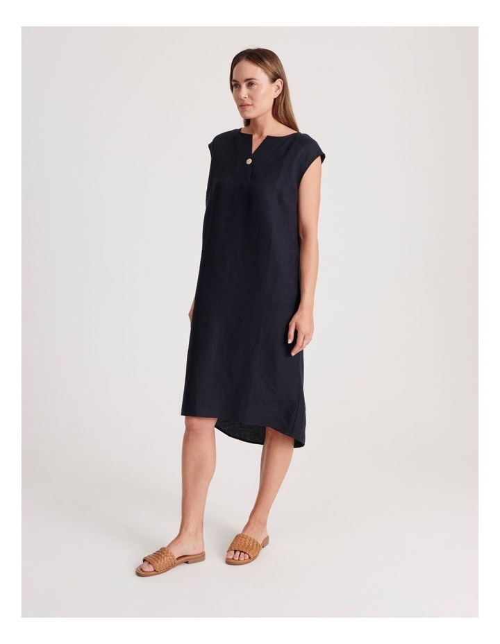 Sleeveless V-Neck Dress With Button image 3