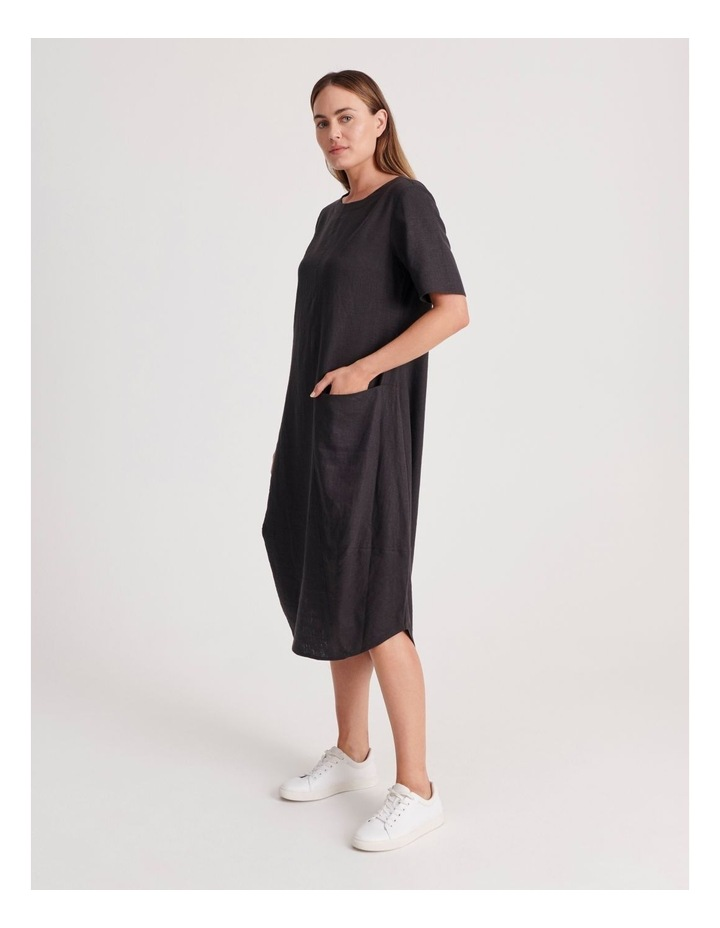Short Sleeve Dress With Asymetrical Seam in Pewter image 2