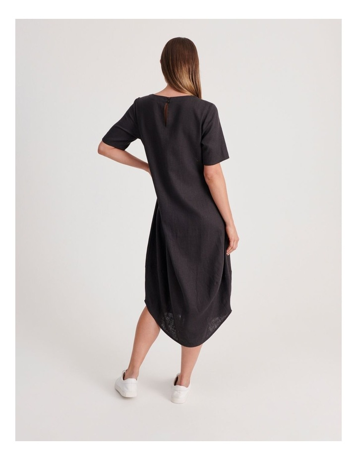 Short Sleeve Dress With Asymetrical Seam in Pewter image 3