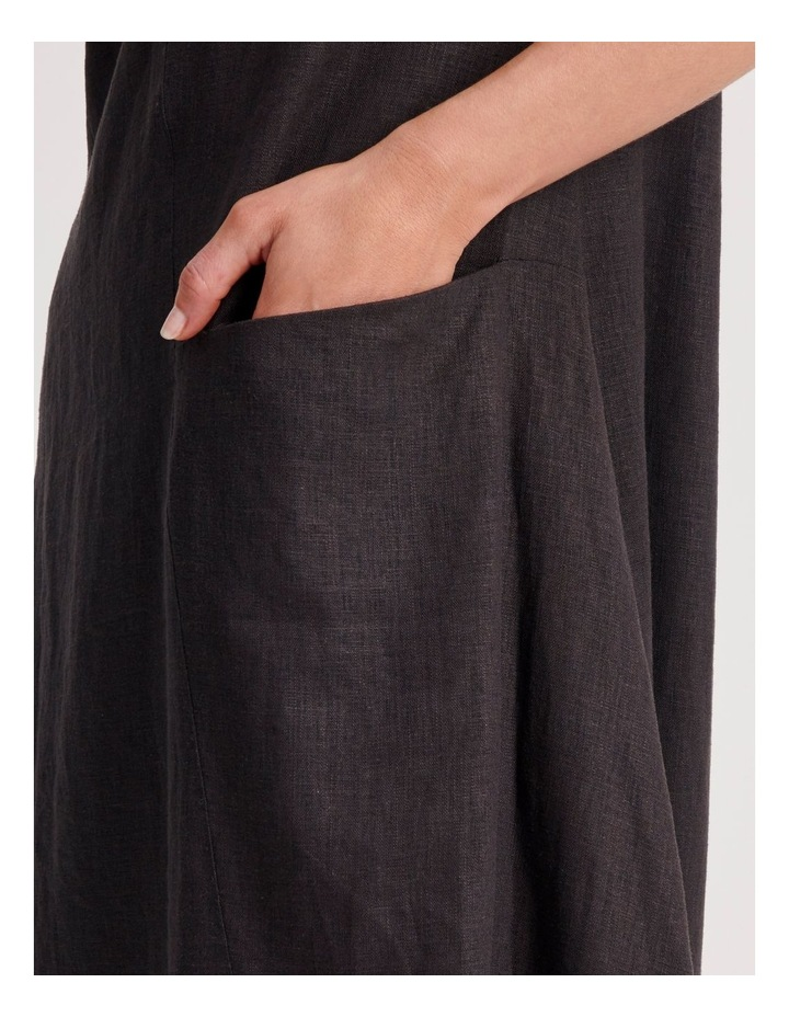 Short Sleeve Dress With Asymetrical Seam in Pewter image 4