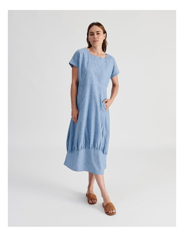 Extended Short Sleeve Dress With Gathered Hem image 1