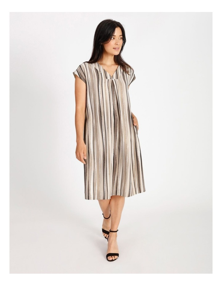 Etched Extended Short Sleeve Dress With Front & Back V Neck With Tuck image 1
