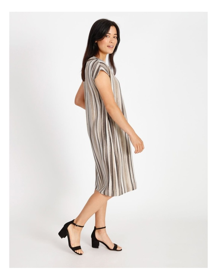 Etched Extended Short Sleeve Dress With Front & Back V Neck With Tuck image 2