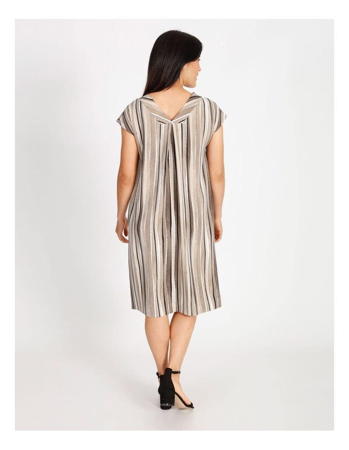 Etched Extended Short Sleeve Dress With Front & Back V Neck With Tuck image 3
