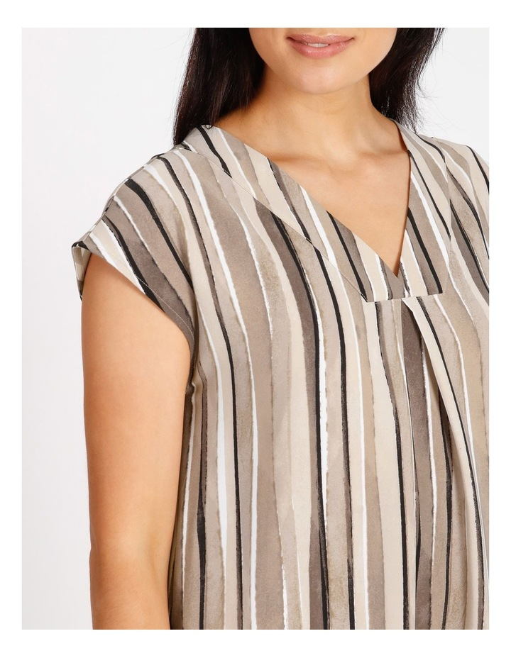 Etched Extended Short Sleeve Dress With Front & Back V Neck With Tuck image 4