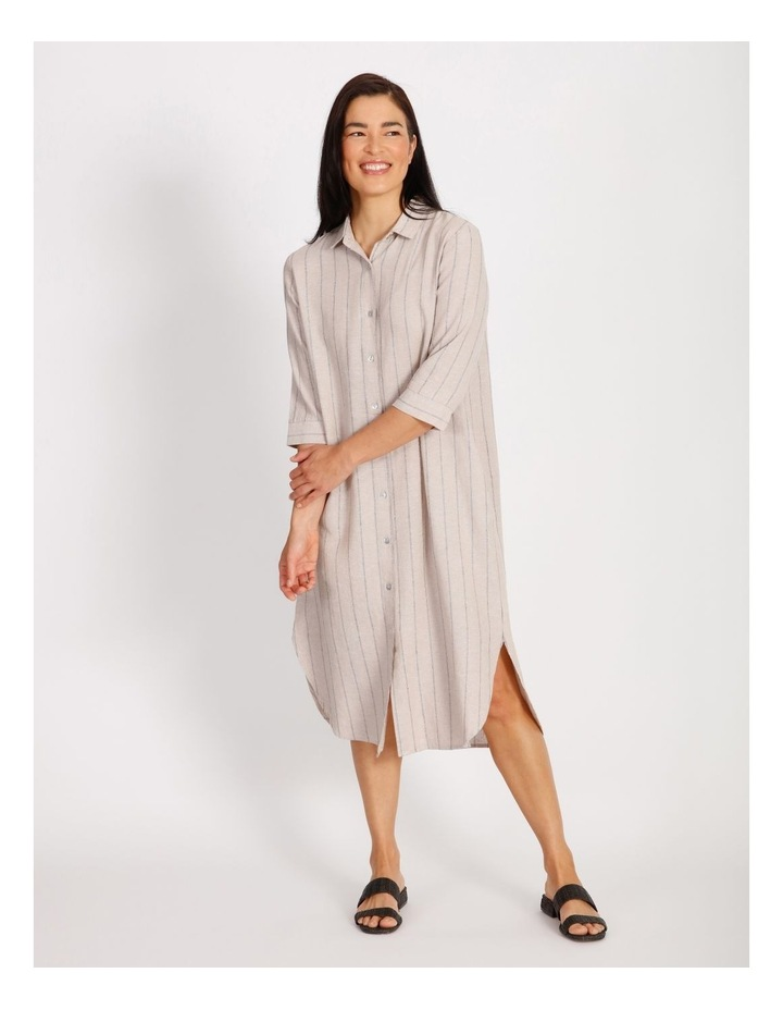 Etched Short Sleeve Button Front Shirt Dress image 1