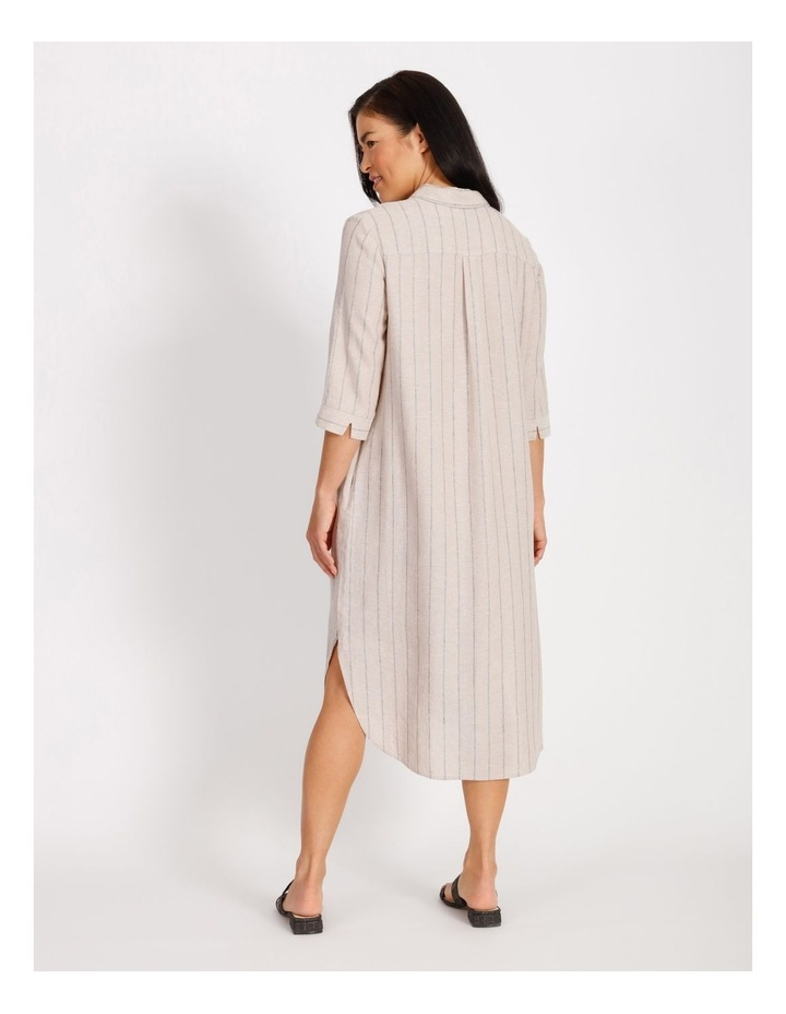 Etched Short Sleeve Button Front Shirt Dress image 3