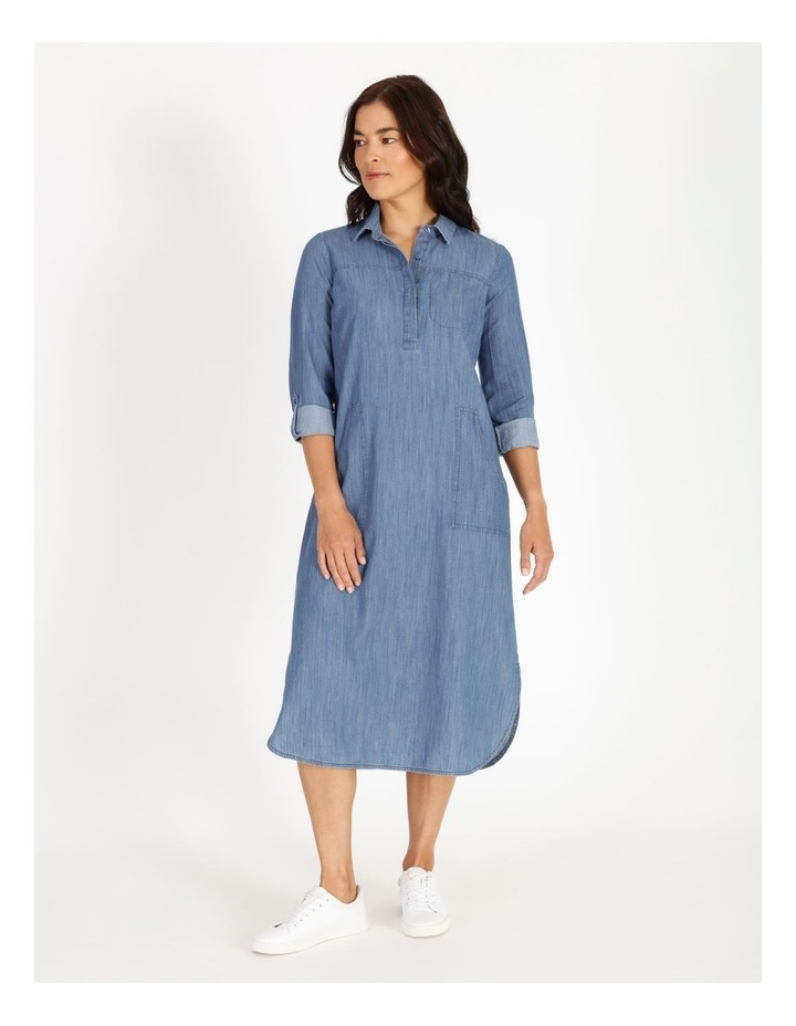 Rolled Sleeve Shirt Dress - Indigo image 1