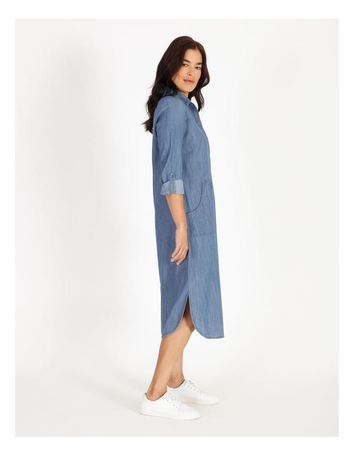 Rolled Sleeve Shirt Dress - Indigo image 2